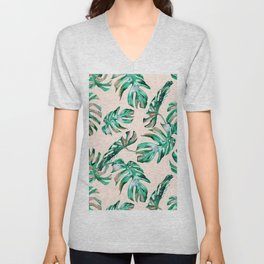 Tropical Palm Leaves Coral Greenery Unisex V-Neck