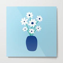 Flowers in Vase (blue) Metal Print