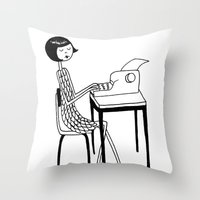 typewriter Throw Pillows featuring Typewriter by flapper doodle