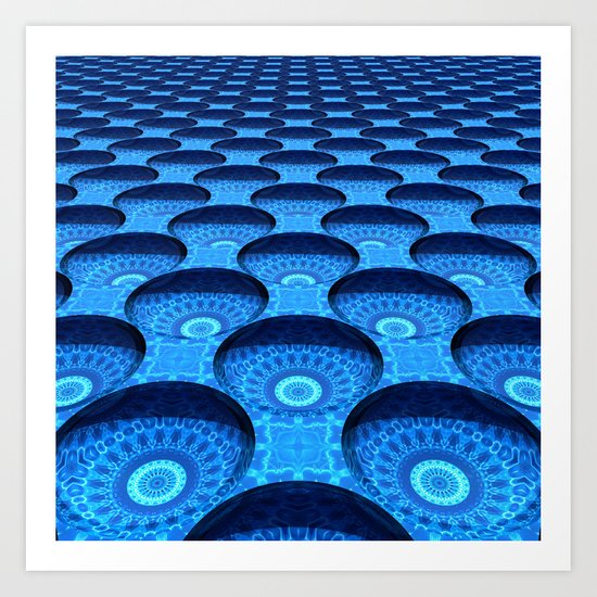 Blue Dimples with Kaleidoscopes Art Print
