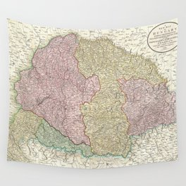 Vintage Map of Hungary (1799) Wall Tapestry