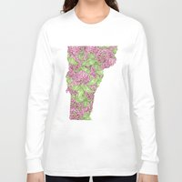 vermont Long Sleeve T-shirts featuring Vermont in Flowers by Ursula Rodgers