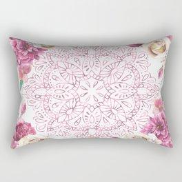 Mandala Rose Garden Pink on White Rectangular Pillow