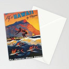 Hawaii Surfing, Diamondhead, World Airways Vintage Travel Poster Stationery Cards