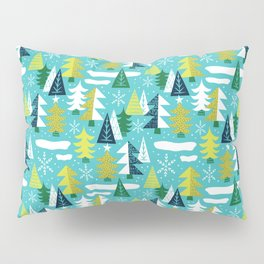Trees - Xmas Pattern (Blue) Pillow Sham