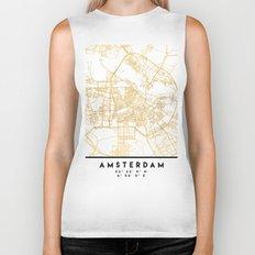 AMSTERDAM NETHERLANDS CITY STREET MAP ART Biker Tank