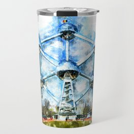 Atomium, Brussels, Aquarell Travel Mug