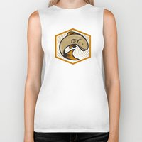 trout Biker Tanks featuring Trout Jumping Cartoon Shield by patrimonio
