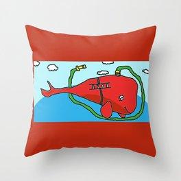 Fire truck whale Throw Pillow