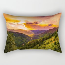 Beautiful Sunset Mountains Valley Landscape Rectangular Pillow