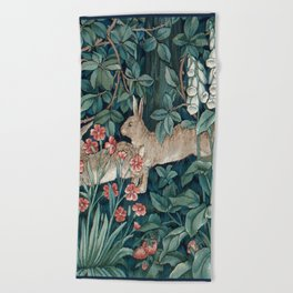 William Morris Forest Rabbits and Foxglove Beach Towel