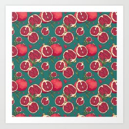 Juicy pomegranates Art Print