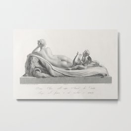 Back view of Venus reclining accompanied by Cupid with a harp from Oeuvre de Canova Recueil de Statu Metal Print