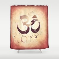 india Shower Curtains featuring Om India by Eva Nev