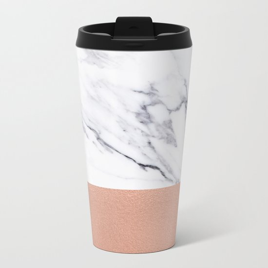Marble Rose Gold Luxury iPhone Case and Throw Pillow Design Metal Travel Mug