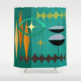 Watching The Watchers Mid Century Modern Geometric Abstract Shower Curtain