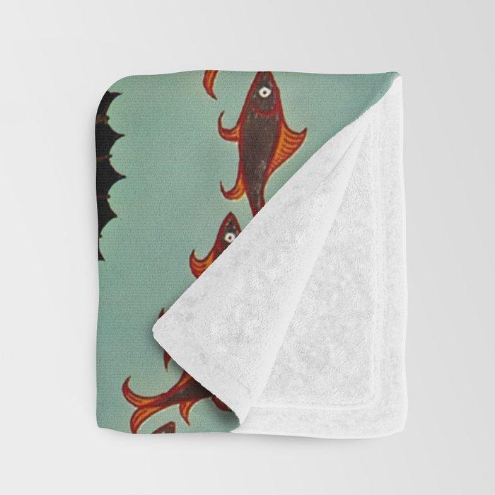 "Art Deco Illustration ""Water"" Throw Blanket"