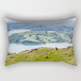 Bird's Eye View of Akaroa Harbour, New Zealand Rectangular Pillow