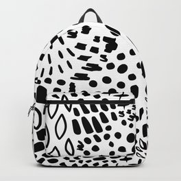 Contemporary Modern Black White Fantasy (Faux) Animal Print Backpack