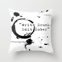 hemingway Throw Pillows featuring Hemingway Writing Quote by Novel Reveries