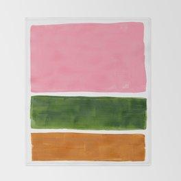 Colorful Minimalist Mid Century Modern Shapes Pink Olive Green Yellow Ochre Rothko Minimalist Square Throw Blanket