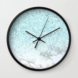Turquoise Sea Mermaid Glitter Marble Wall Clock