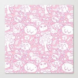 Cat pattern Pink Canvas Print