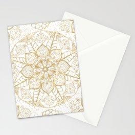 Stylish boho hand drawn golden mandala Stationery Cards