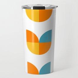 Geometric abstract mid century modern retro tulip flower pattern Travel Mug