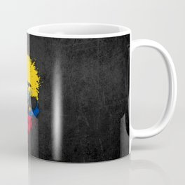 Flag of Ecuador on a Chaotic Splatter Skull Coffee Mug