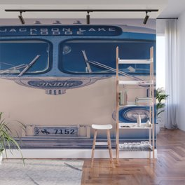 Jackson Lake Lodge Vintage Bus Print Wall Mural