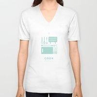 cook V-neck T-shirts featuring #WorkerEssentials - cook by EHILAB