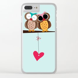 Love owls on the branch, blue background Clear iPhone Case