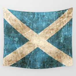 Vintage Aged and Scratched Scottish Flag Wall Tapestry