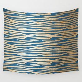 Zebra - Orange Sherbet Shimmer on Saltwater Taffy Teal Wall Tapestry