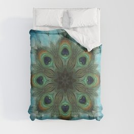 Infinite Waters // Peacock Feather Visionary Art Blue Green Abstract Mandala Sacred Geometry Comforters
