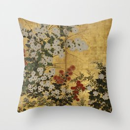 White Red Chrysanthemums Floral Japanese Gold Screen Throw Pillow