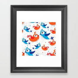 Two Bird Lovers Orange and Blue  Pattern Framed Art Print