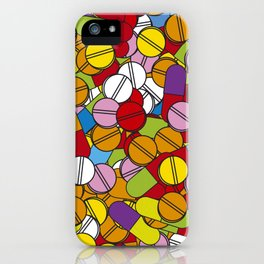 Colorful Pills Modern Medical Graphic Art Illustration iPhone Case