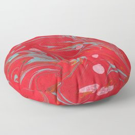 Red Marbled Floor Pillow