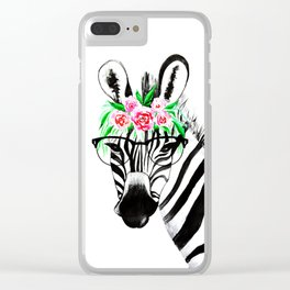 Zebra with glasses and flowers Clear iPhone Case