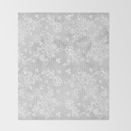 Beautiful Gray & White Floral Lace Pattern Throw Blanket