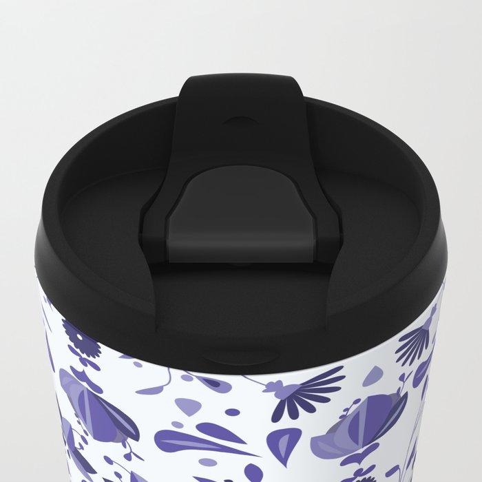 Blue Flower Bohoo Pattern Metal Travel Mug