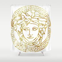 versace Shower Curtains featuring Versace White by InteriorEpiphanies