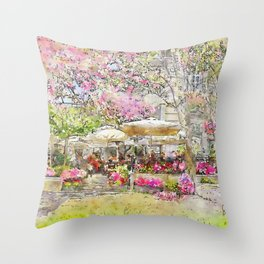 Parisian Cafe in the Spring by Jennifer Berdy Throw Pillow