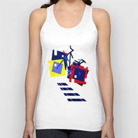 bicycles Tank Tops featuring Abstract geometrical bicycles. by capricorn