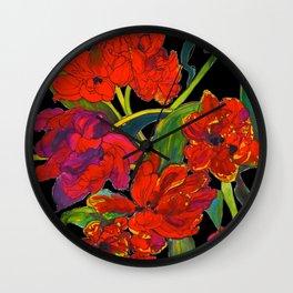 Inky Tulips Black Wall Clock