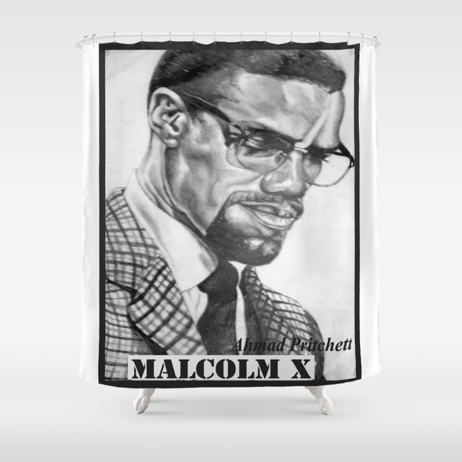 Print of free hand graphite pencil drawing of malcolm x shower curtain