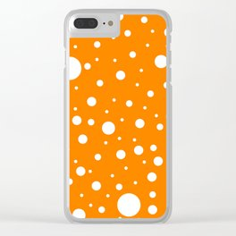 Mixed Polka Dots - White on Orange Clear iPhone Case