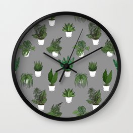 Houseplants Illustration (grey background) Wall Clock